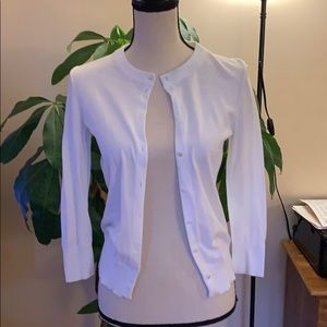 J Crew White Clare Cardigan Size Small 100% Cotton